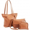 Durable Faux Leather Brown 3pc Purse Set