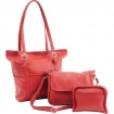 Durable Faux Leather Red 3pc Purse Set