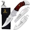 """5"""" Elk Ridge Pakkawood Handle with 3 Blade interchangeable knife"""