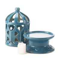 Ceramic Blue Lantern with LED Candle